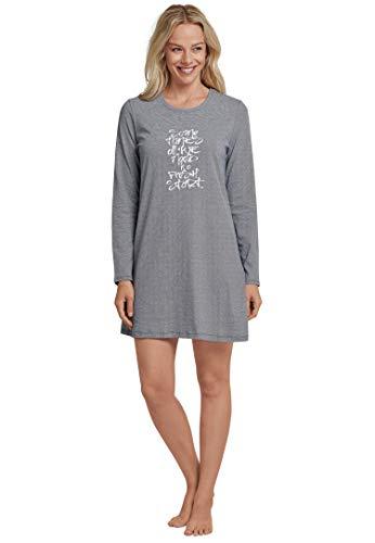 Schiesser Damen Essentials Sleepshirt 1/1 100% Baumwolle, Blau (Graublau), 38