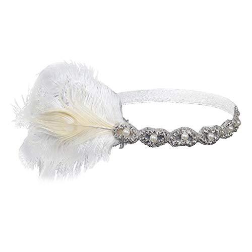 (VJGOAL Damen Mädchen Mode Elegant 1920er Jahre Kopfschmuck Feder Flapper Stirnband Great Gatsby Headdress Vintage Braut Party Kopfbedeckung)