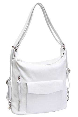AMBRA Moda echt Leder 2 in 1 Damenrucksack CityRucksack DayPack Schultertasche GL016 (Weiß)