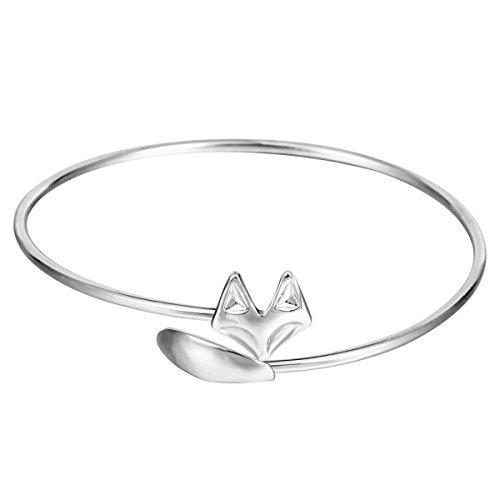 Fox Tier Öffnung Armband Temperament Art Und Weise Legierung Charme,Silver-M (Tier-stulpe-armband)