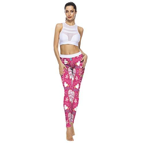 Frauherzz Frauen Yoga Leggings, Gemusterte Leggings Damen hohe Taille Enge Yoga Hosen Freizeithosen für Damen Elastische Sport Leggings Jogginghosen Sportswear - Safran-leder-schuhe