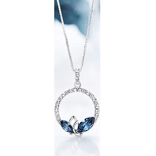 Verziert mit Kristallen Anhänger Halskette 925 Sterling Silber Schlicht Blau Modeschmuck -