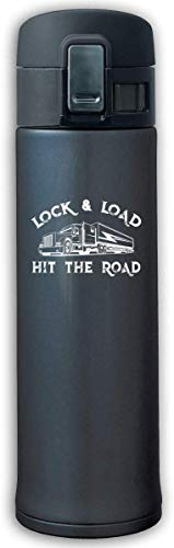 Trucker Lock and Load and Hit The Road Stainless Steel Mug,Stainless Steel Thermos,Bouncing Cover Insulation Vacuum Cup