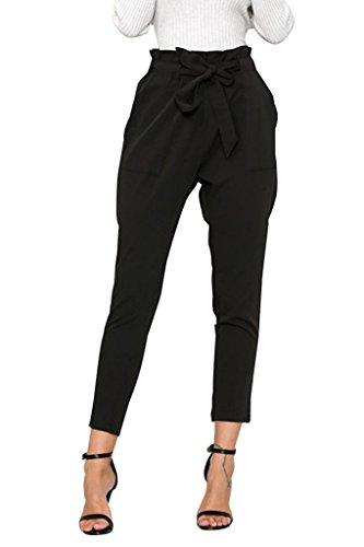 Minetom Damen Elegant Hohe Taille Hose elastischer Bund Mit Tunnelzug Schnüren Einfarbig Pants Businesshose Beiläufige Schwarz EU XS