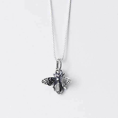 LBZDR Halskette 925 Silber Anhänger weibliche Thai Silber Biene Hals Halskette Nationale Wind Tier Kurze Schlüsselbein Kette