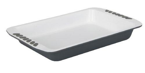 Crealys 512247 Plat à Four en Acier Blanc 40 x 25 cm