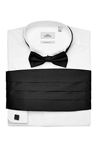 Next uomo camicia con collo diplomatico, farfallino, gemelli e fascia da annodare in vita - vestibilità regular e polsino doppio bianco uk 21l