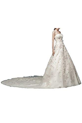 Victory bridal elegant suspendre une robe de mariée brautkleider brautmode fleurs-pierres traîne Blanc - blanc