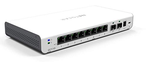 Netgear GC110-100PES 8-Port Gigabit Ethernet Insight App Managed Smart Cloud Switch (2x SFP Fiber Ports, lüfterlos, mit Wandbefestigungskit) weiß