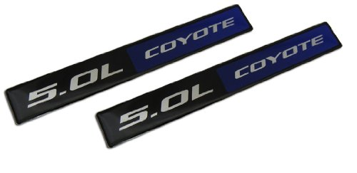 Preisvergleich Produktbild 2 x (pair/set) Blue Black 5.0L Coyote 4951cc Engine Swap Fender Hook Trunk Emblem Badge for Ford Mustang V8 & F150