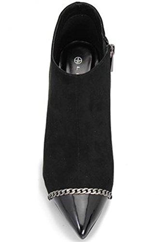 FANTASIA BOUTIQUE FLR296 Escada Femmes Faux Daim Pantalon Chaussure Bottines À Talon Cheville Sac À Main Noir (CHAUSSURE ONLY)