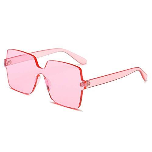 YHEGV Vintage quadratische Sonnenbrille Frauen Männer Markendesigner Retro randlose Kunststoff rosa Sonnenbrille transparenten Farbverlauf Sonnenbrille Lunette