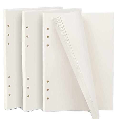 3 Packungen blanko Papier, 180 Blatt/360 Seiten A5 (21 x 14,2 cm) 6-Ringe nachfüllbar Notizpapier, A5 Planer Einlagen Nachfüllblätter Punkte Raster Papier für Filofax Tagebuch Planer Scrapbooks - Ringe Sechs