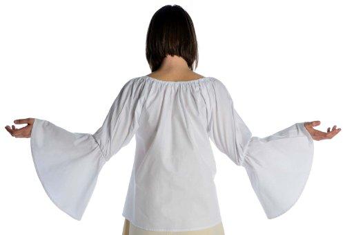 HEMAD weiß rot braun Mittelalterbluse mit Trompetenärmeln S-XXL Damen Bluse Weiß