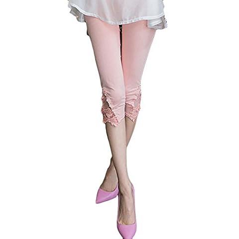 LOCOMO Women Lace Crochet Floral Casual Pant Capri Cropped Legging FFT224PNK