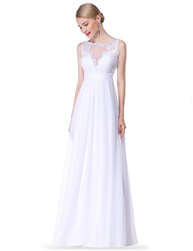 Ever Pretty Damen Elegant Rundhals Lang Geblümt Lace V-Ausschnitt Abendkleid 08715