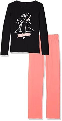 Lina Pink EF.Magie.PY.MZ, Ensemble de Pyjama Fille, Noir (Noir/Corail), 14 Ans (Taille Fabricant: 14 Y)