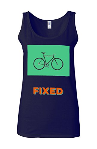 Fixed Bike Fun Hipster Novelty White Femme Women Tricot de Corps Tank Top Vest Bleu Foncé