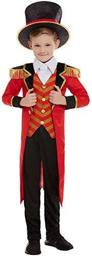 Devil Kostüm Boy - Fancy Ole - Jungen Boy Kinder Zirkusdirektor Kostüm Deluxe, Jacket Shirt Hose und Hut, perfekt für Halloween Karneval und Fasching, 140-152, Rot