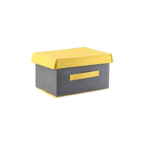 axentia Aufbewahrungsbox Sofia mit Deckel grau-gelb, Regalkorb klein, Stoffbox mit Griff, Regalbox multifunktional,  Schuhbox Maße: ca. 34 x 19 x 24 cm