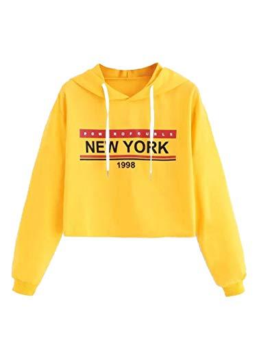 Kapuzen Xl Sweatshirt Jersey (DAMENGXIANG Frauen Kurze Gedruckte Brief Sweatshirt T-Shirt Mode Langarm Kapuzen-Jersey. Gelb XL)