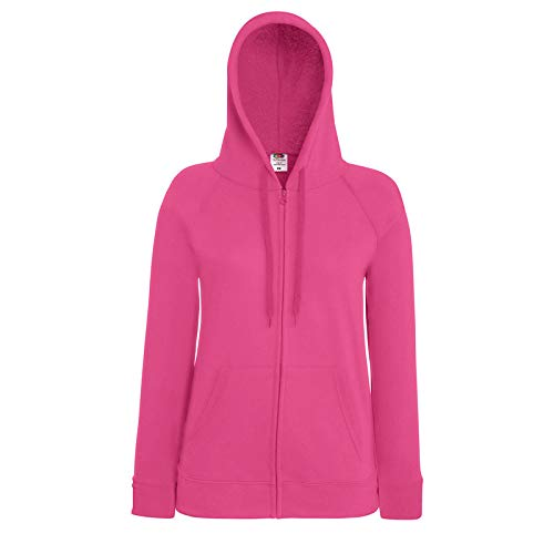Fruit of the Loom Lady-Fit Lightweight Hooded Sweat Jacket 62-150-0 XL,Fuchsia (Pullover Hooded Lightweight)