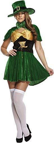Damen Feurig st Patricks Tag Kobold Hut Kleid mit Cape Irland Irisch Nationalkostüm Feier Party Kostüm Kleid - Feurige Kostüm