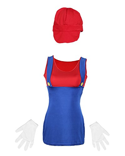 Emma's Wardrobe Mario Plumber Ladies Fancy Dress Costume - Highly Rated by Customers