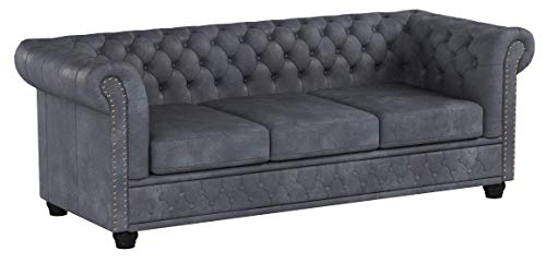 Invicta Interior Edles Chesterfield 3er Sofa Grau im Antik Look Knopfheftung Dreisitzer 3-Sitzer