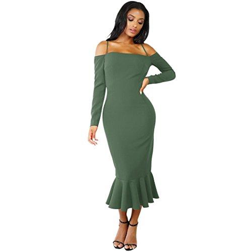 Damen Kleid,DOLDOA Unifarbe Schulterfrei Langarm Meerjungfrau Kleid Cocktailkleid Tunikakleid (EU: 44, Armeegrün,Schulterfrei Langarm Meerjungfrau Kleid) (Button-stiefeletten)