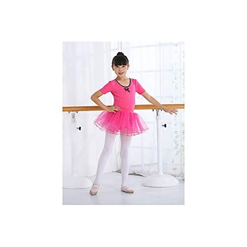 Tanzkleidung Kinder tanzen Kleidung Mädchen Ballett Röcke Übungskleidung Flauschigen Rock Tanztest Kleidung Rose rot Kurzarm 100 cm für Höhe Testkleidung