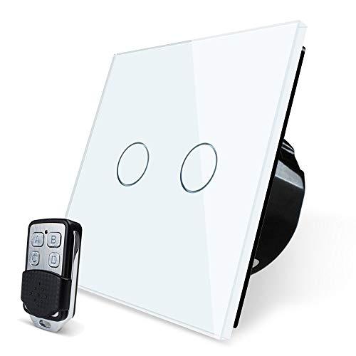 Berührungsschalter Dimmer - Happyroom Random Wand Lichtschalter Dimmer Kristallglas Touch Sensor mit Funkfernbedienung RF 433.92MHz Funkschalter LED Lichtschalter Arbeit (2 Gang) -
