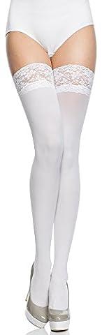 Merry Style Femme Bas Microfibre 40 DEN (Blanc, 3/4 (40-44))