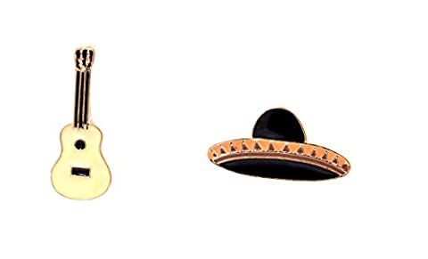 Set of Two Mexican Hat and Guitar Enamel Pin Brooch (In Organza Bag)