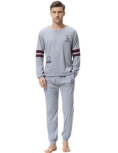 Aiboria Herren Schlafanzug Pyjama Lang Freizeithosen Jerseyhose Schlafanzughose Set Pant Zweiteiliger Anzug Baumwolle Nachtwäsche