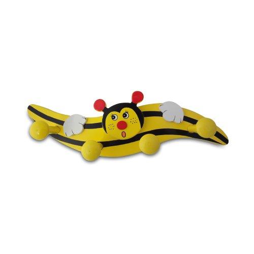 Holzgarderobe Kindergarderobe aus Holz - Biene Größe: ca. 27 cm mit 4 Kleiderhaken