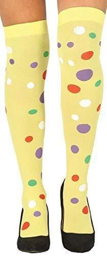 Fancy Me Damen Gelb Gepunktet Clown Karneval Leuchtend Socken Lustiges Kostüm Outfit Accessoire Halterlose Strümpfe