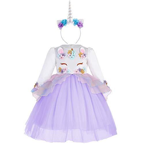 fa8f4d3eb Princesa Bebé Niña Vestido Unicornio Cumpleaños Disfraz deCosplay ...