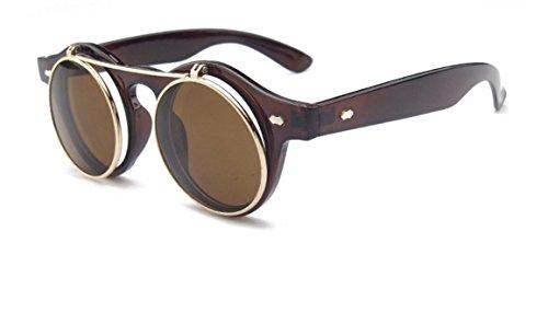Rcdxing Steampunk Sonnenbrille, Brille im Retro-Stil, mit faltbaren Bügeln und 1 Paar runder, brauner Sonnengläser