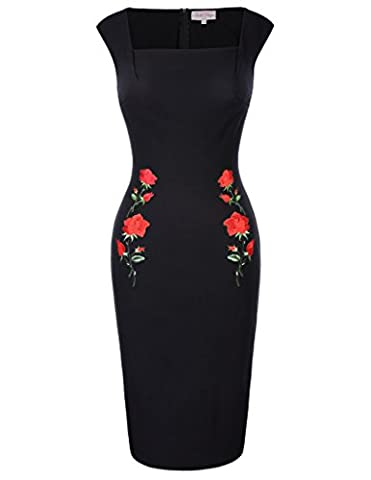 Slim Fit Square Neck Embroidered Dress Black Wear to Work Pencil Dress L BP328-1
