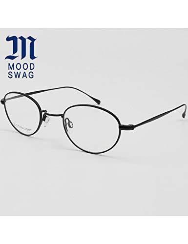 MOMOQU Sun Glasses Ultraleichter Rahmen Brillengestell Herren Retro Literarische Kette Titan Alloy Round Brillengestell Damen Small Face, Bv