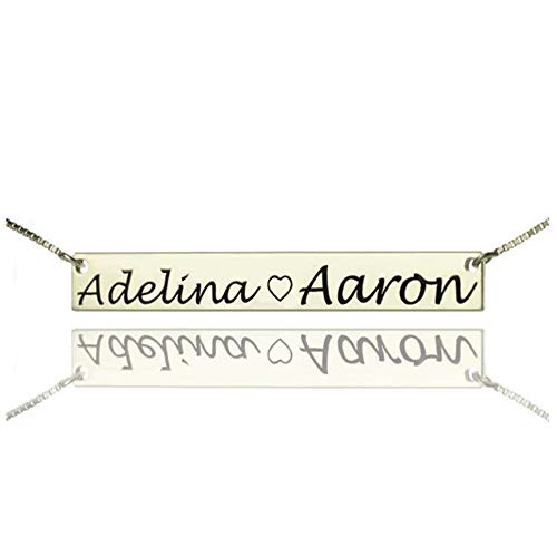 ASD Jewerly Collar Mujer Plata Collar Custom 2 Name Bar Necklace Costume Double Names Collares para Amantes Pareja Plata Placa de Suspensión Cadena de Suspensión Regalo de la Amiga (Plata 22)