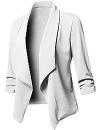 f6b4a986b490 Uranus Veste de Tailleur Femme Chic Couleur Unie Blazer Cintré Casual  Grande Taille Manteau Asymétrique