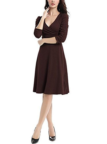 Brinny 1/2 Manches Folds Femme Robe Rétro Vintage Sexy Col V Mince Casual Plissé Swing Robe de demoiselle d'honneur de Cocktail 12 Couleur Taille: S-3XL Café Foncé