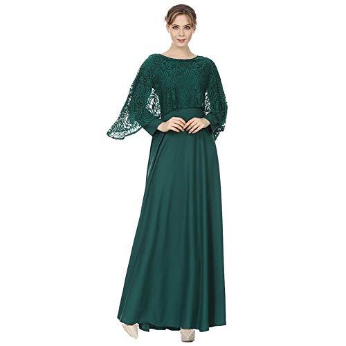 Meijunter Muslimische Kleider für Damen - Spitze Langarm Abaya Gebet Kleid Islamische Kleidung Arabisch Dubai Kaftan Grün M
