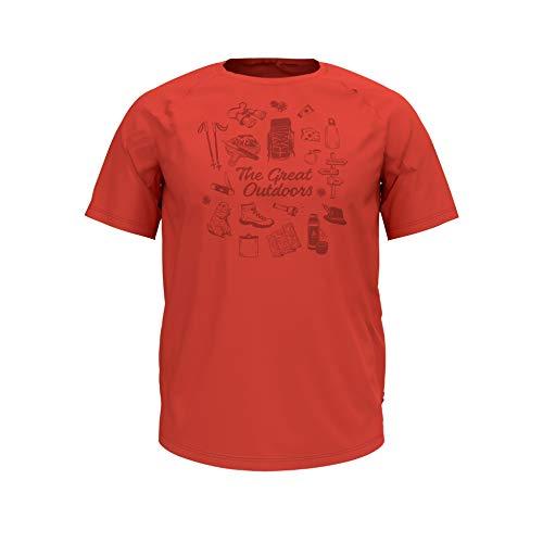 Odlo Herren BL TOP Crew Neck s/s Concord Shirt, Paprika-Outdoors Print SS19, L