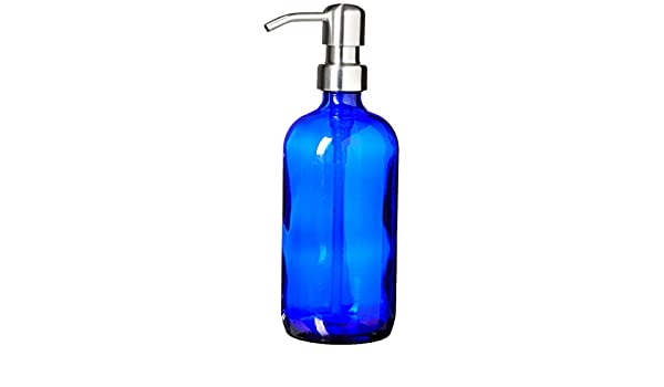 Cobalt Blue Pint Jar Soap Dispenser with Stainless Metal Pump  16oz Glass Bottle