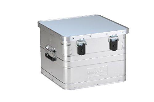 hünersdorff Aluminium-Box 29 Liter,spritzwassergeschützt, mit Gummi-Dichtung, leicht, stabil, Klapphandgriffe, Vorbereitung für Schlösser, Farbe: silber