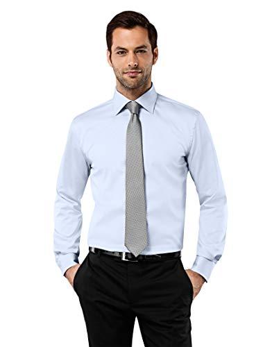 Vincenzo boretti camicia uomo eleganti, taglio normale/regular-fit, collo classico, manica lunga, in tinta unita - non stiro/non-iron blu ghiaccio 41/42