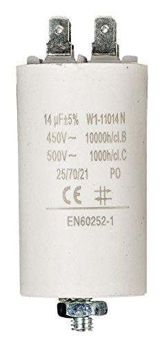 Fixapart 11014 Anlaufkondensator Betriebskondensator 14uF 14µF mit STECKER (Motorkondensator)